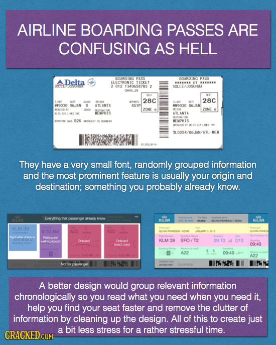 AIRLINE BOARDING PASSES ARE CONFUSING AS HELL Delta ADARDIN PASS B0ARDING PASS FLECTRONIC TICKET ET SCFTE 012 1349658783 74050H11 2 JOSUHUA GHSEJ SAT