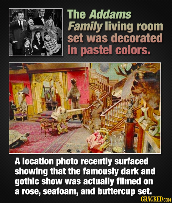 The Addams Family living room set was decorated in pastel colors. A location photo recently surfaced showing that the famously dark and gothic show wa