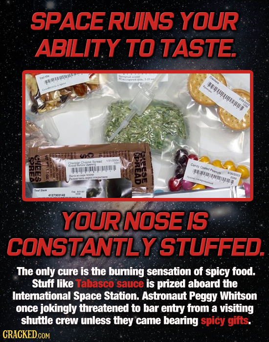 SPACE RUINS YOUR ABILITY TO TASTE. SBNTEITMIDE u CPREAD Rese SOREA CHEES Cangy Com Peanus AHIMUMMUTUE 43020 4127303142 YOUR NOSE IS CONSTANTLY STUFFED