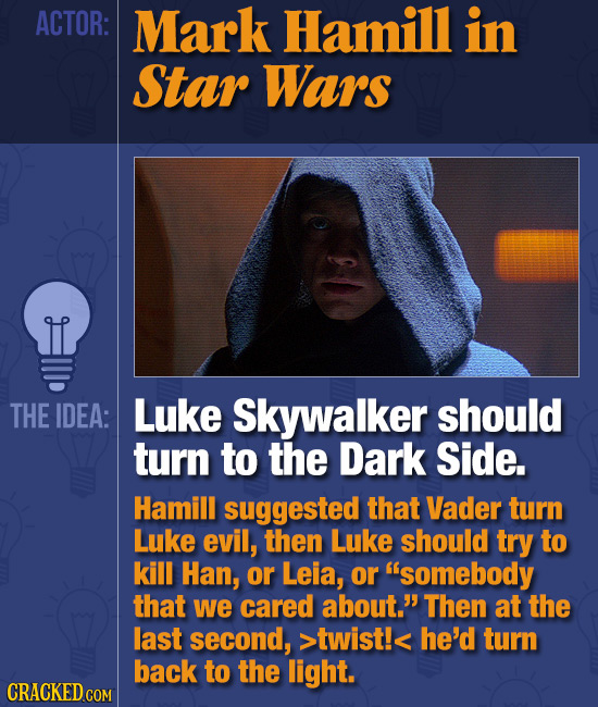 ACTOR: Mark Hamill in Star Wars THE IDEA: Luke Skywalker should turn to the Dark Side. Hamill suggested that Vader turn Luke evil, then Luke should tr