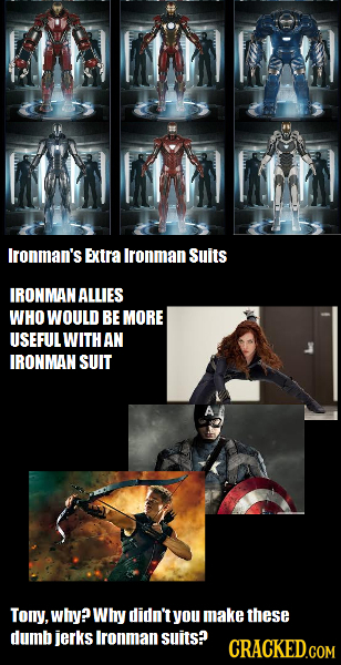 Ironman's Extra lronman Suits IRONMAN ALLIES WHO WOULD BE MORE USEFULWITH AN IRONMAN SUIT Tony, why? Whry didn't you make these dumb jerks Ironman sui