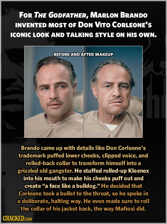 For THE GODFATHER, MARLON BRANDO INVENTED MOST OF DON VITO COrLEONE's ICONIC LOOK AND TALKING STYLE ON HIS OWN. BEFORE AND AFTER MAKEUP Brando came up