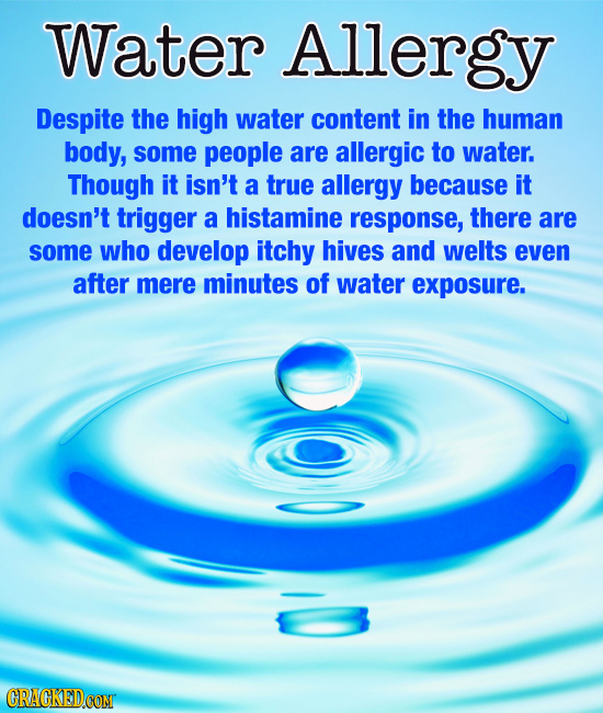 Water Allergy Despite the high water content in the human body, some people are allergic to water. Though it isn't a true allergy because it doesn't t