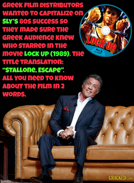 GREEK FILm DISTRIBUTORS WANTED TO CAPITALIZE on SLY'S 80S success so THEY MADe suRe THE GREEK AuDlencE knew LOCKUP WHO STARRED in THE movie LOCK UP (1