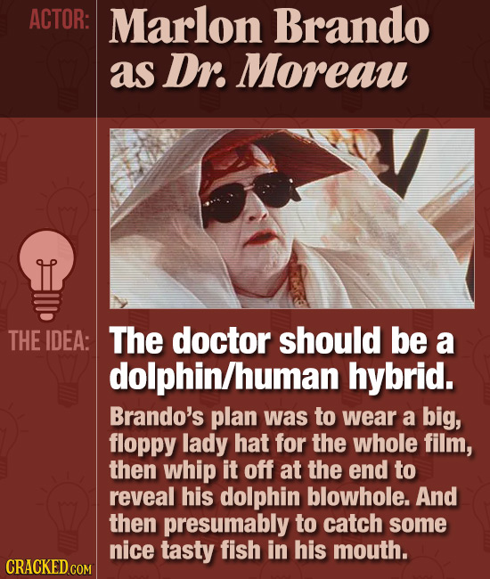 ACTOR: Marlon Brando as Dr. Moreau THE IDEA: The doctor should be a dolphin/human hybrid. Brando's plan was to wear a big, floppy lady hat for the who