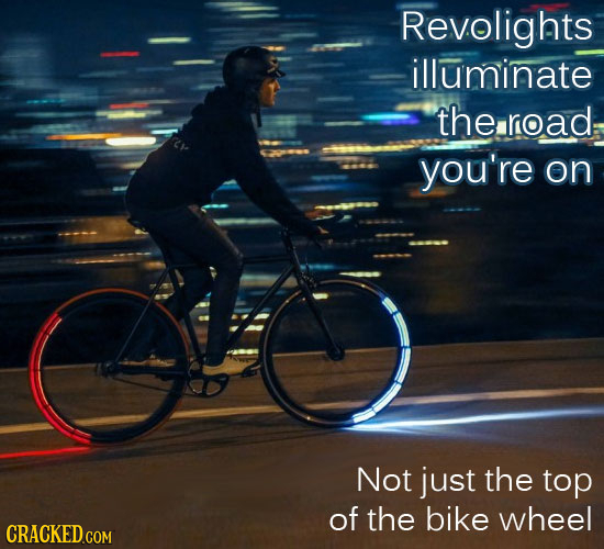 Revolights illuminate the road: you're on Not just the top Of the bike wheel