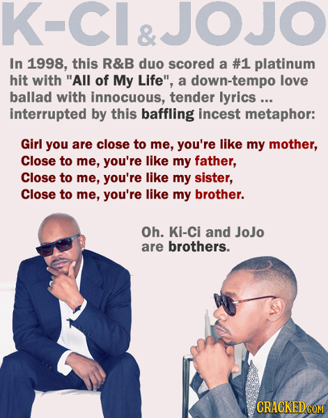 K-CI&JOJO & In 1998, this R&B duo scored a #1 platinum hit with All of My Life, a down-tempo love ballad with innocuous, tender lyrics ... interrupt