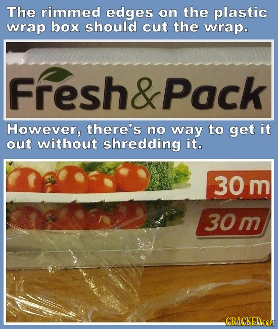 The rimmed edges on the plastic wrap box should cut the wrap. Fresh&Pack However, there's no way to get it out without shredding it. 30 m 30m GRAGKEDC
