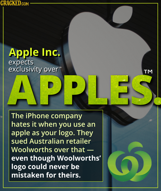 Apple wants exclusivity over APPLES - The iPhone company hates it when you use an apple as your logo. They sued Australian retailer Woolworths over th