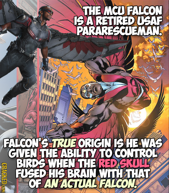 THE MCU FALCON IS A RETIRED USAF PARARESCUEMAN. FALCON'S TRUE ORIGIN IS HE WAS GIVEN THE ABILITY TO CONTROL BIRDS WHEN THE RED SKULL GROT FUSED HIS BR
