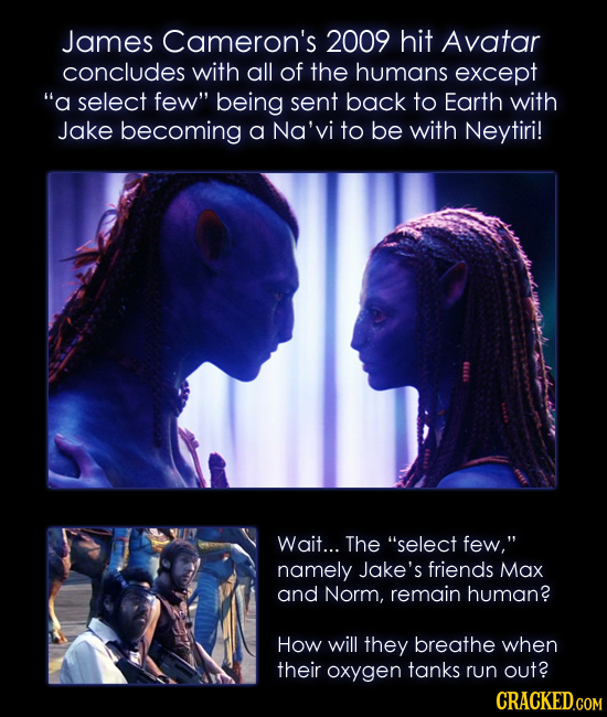 James Cameron's 2009 hit Avatar concludes with all of the humans except a select few being sent back to Earth with Jake becoming a Na'vi to be with