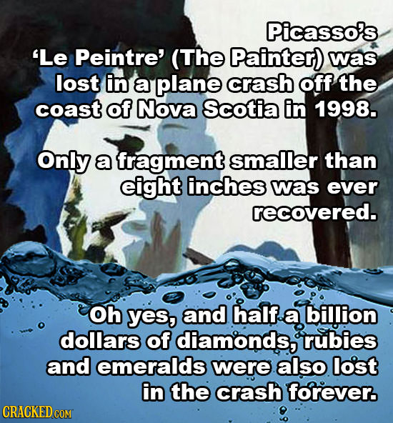 Picasso's 'Le Peintre' (The Painter) was lost in a plane crash off the coast of Nova Scotia in 1998. Only a fragment smaller than eight inches was eve