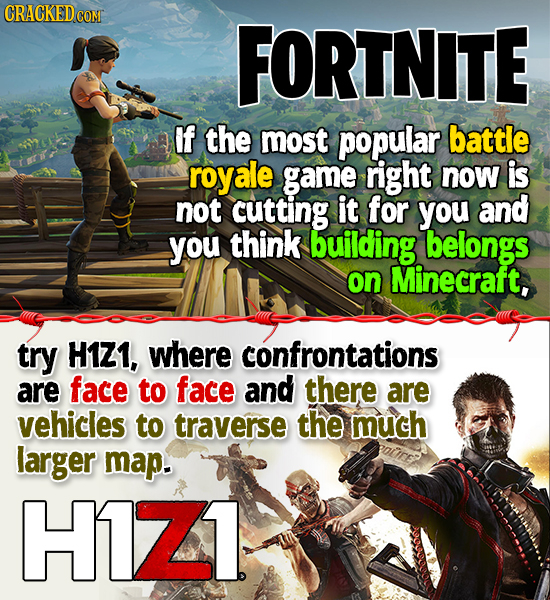 CRACKED COM FORTNITE If the most popular battle royale game right now is not cutting it for you and you think building belongs on Minecraft, try H1Z1,