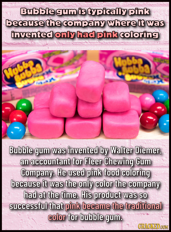 Bubble gum is typically pink because the company where it was invented only had pink coloring Wobbe 3ubb3 Mubbe yobb r Bubble gum was invented by Walt