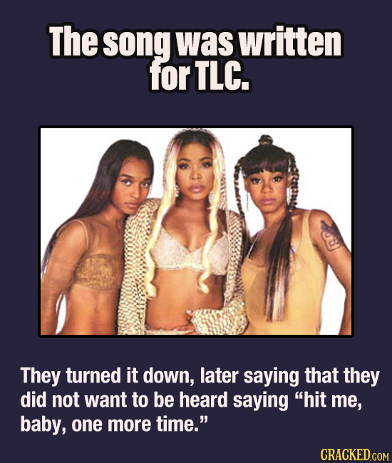 The song was written for TLC. They turned it down, later saying that they did not want to be heard saying hit me, baby, one more time. CRACKED.COM