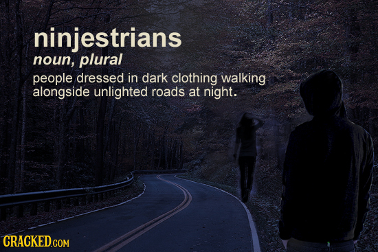 ninjestrians noun, plural people dressed in dark clothing walking alongside unlighted roads at night. CRACKED.COM