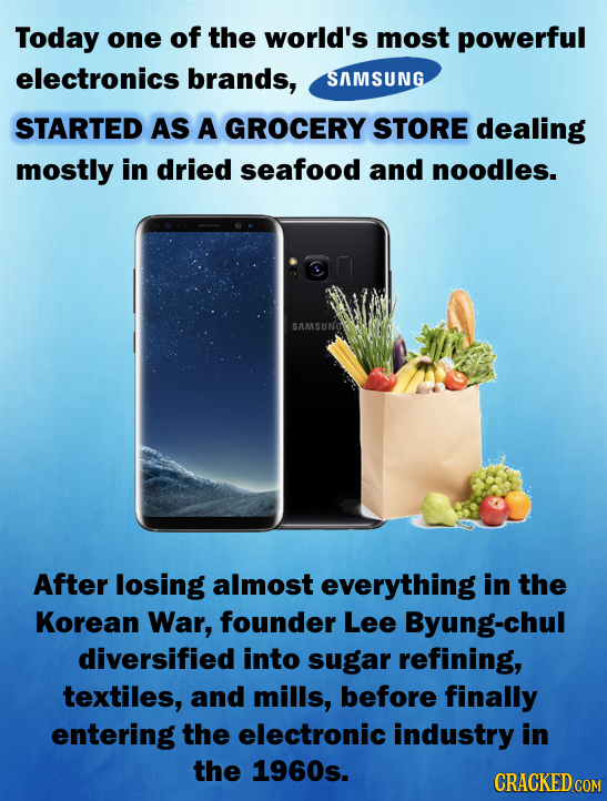 Today one of the world's most powerful electronics brands, SAMSUNG STARTED AS A GROCERY STORE dealing mostly in dried seafood and noodles. SAMSUNG Aft