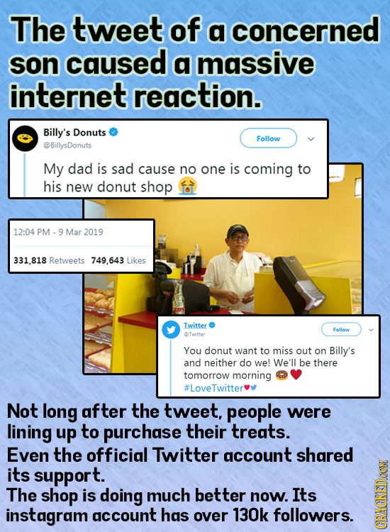 The tweet of a concerned son caused a massive internet reaction. Billy's Donuts Follow @BillysDonuts My dad is sad cause no one is coming to his new d