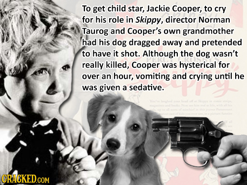 To get child star, Jackie Cooper, to cry for his role in Skippy, director Norman Taurog and Cooper's own grandmother had his dog dragged away and pret