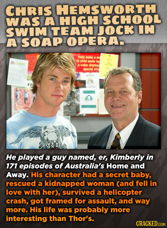 CHRIS HEMSWORTH WAS A SWIM TEAM JOCK IN A SOAP OPERA- He played a guy named, er, Kimberly in 171 episodes of Australia's Home and Away. His character