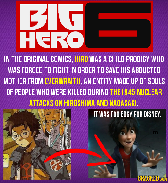 BIG HERO IN THE ORIGINAL COMICS, HIRO WAS A CHILD PRODIGY WHO WAS FORCED TO FIGHT IN ORDER TO SAVE HIS ABDUCTED MOTHER FROM EVERWRAITH, AN ENTITY MADE