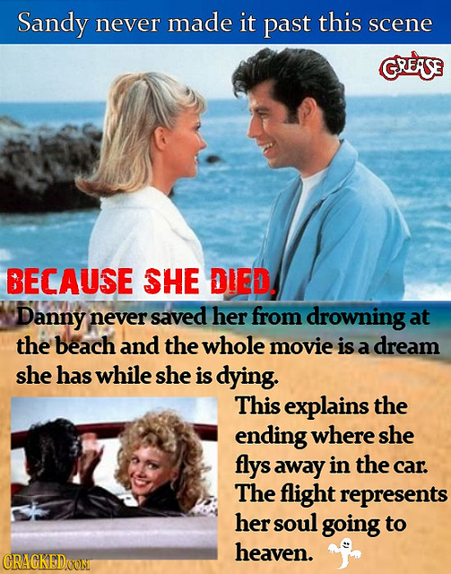 Sandy made never it past this scene GRESE BECAUSE SHE DIED. Danny never saved her from drowning at the beach and the whole movie is a dream she has wh