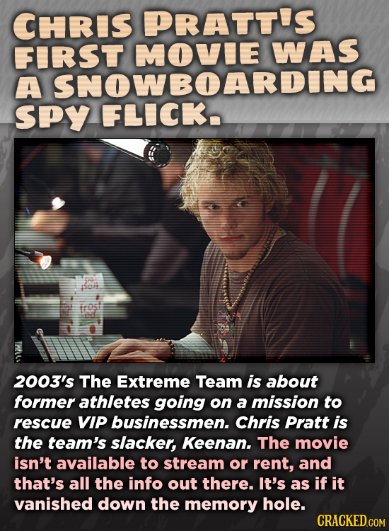 CHRIS PRATT'S FIRSt WAS A SPy FLIGAAN Soh frost 2003's The Extreme Team is about former athletes going on a mission to rescue VIP businessmen. Chris P