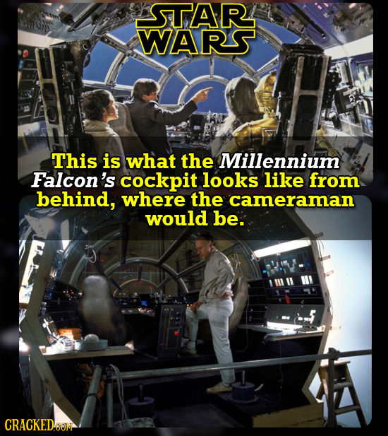 STAR WARS This is what the Millennium Falcon's cockpit looks like from behind, where the cameraman would be. CRACKED6OM