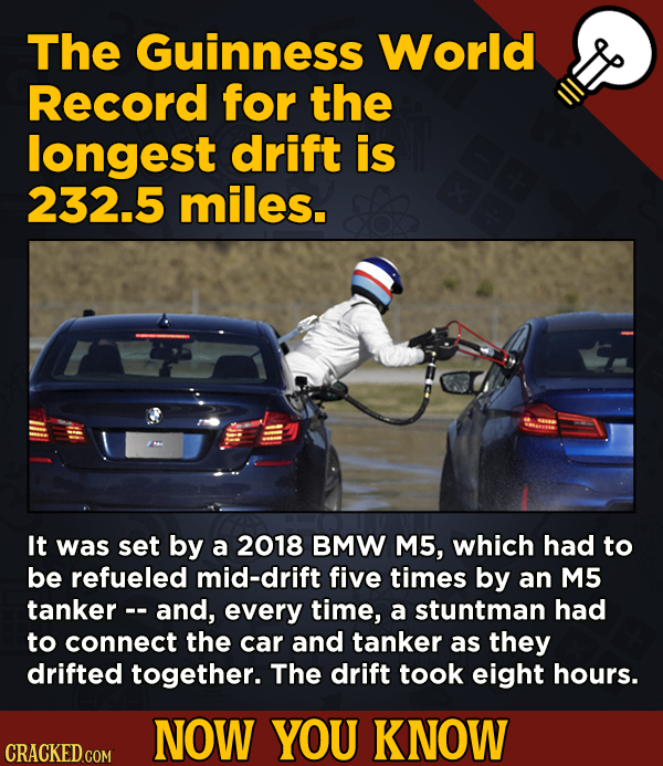 13 Movie-Related And Other Facts You Had No Clue About --The Guinness World Record for the longest drift is 232.5 miles.
