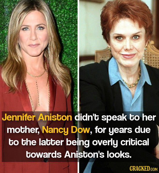 Jennifer Aniston didn't speak to her mother, Nancy Dow, for years due to the latter being overly critical towards Aniston's looks.