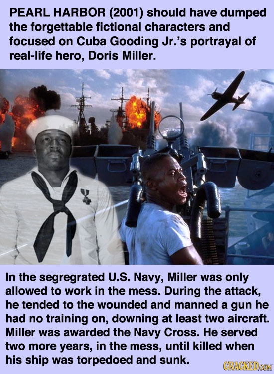 PEARL HARBOR (2001) should have dumped the forgettable fictional characters and focused on Cuba Gooding Jr.'s portrayal of real-life hero, Doris Mille