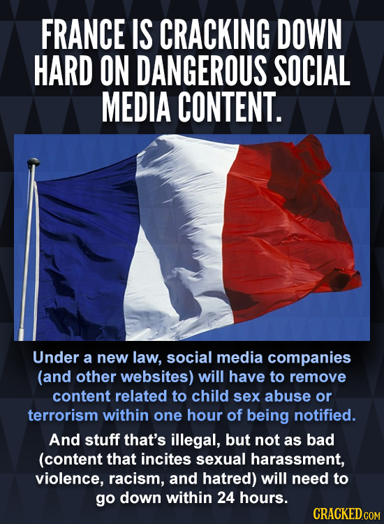 FRANCE IS CRACKING DOWN HARD ON DANGEROUS SOCIAL MEDIA CONTENT. Under a new law, social media companies (and other websites) will have to remove conte