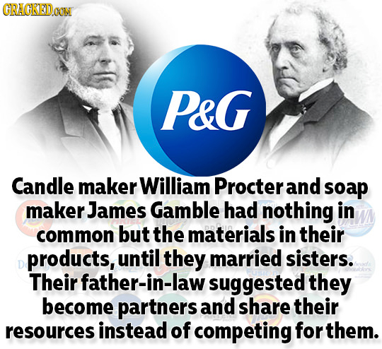 GRAGKEDO PeG Candle maker William Procter and soap maker James Gamble had nothing in common but the materials in their products, until they married si