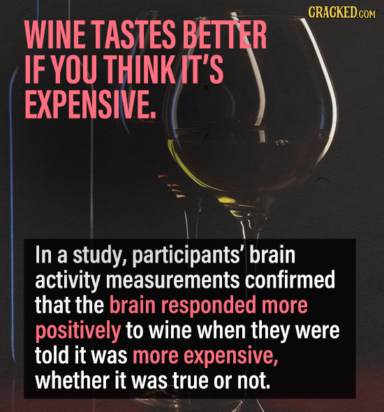 CRACKED.COM WINE TASTES BETTER IF YOU THINK IT'S EXPENSIVE. In a study, participants' brain activity measurements confirmed that the brain responded m