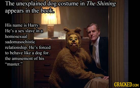 The unexplained dog costume in The Shining appears in the book. His name is Harry. He's a sex slave in a homosexual sadomasochistic relationship. He's