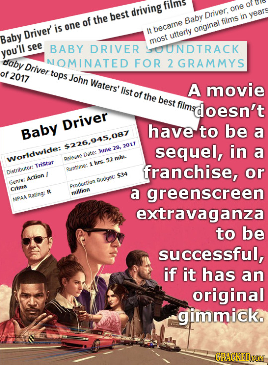 films of driving one Driver, in years of the best Baby films is one Driver It hecame original Baby utterly most see BABY DRIVER OUNDTRACK you'll daby