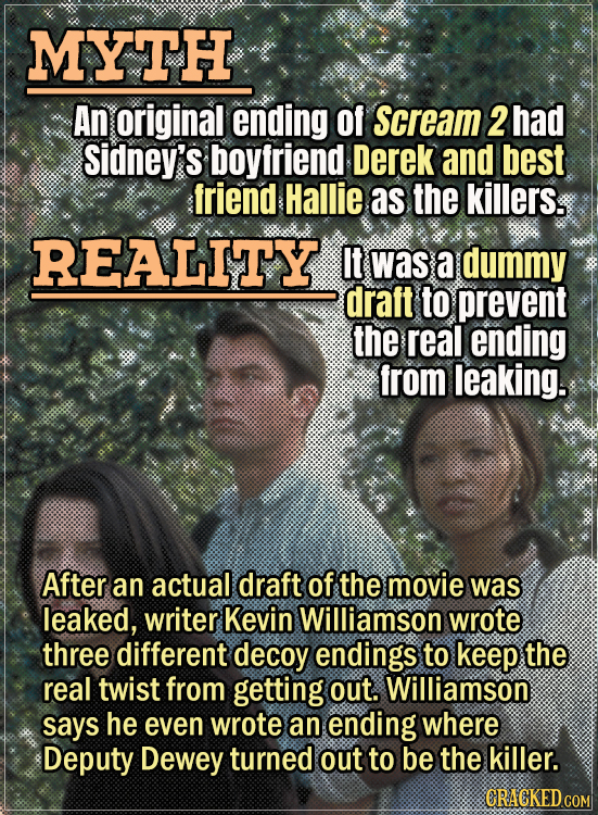 Movie Trivia Everyone Gets Wrong - Myth An original ending of Scream 2 had Sidney's boyfriend Derek and best friend Hallie as the killers. Reality It