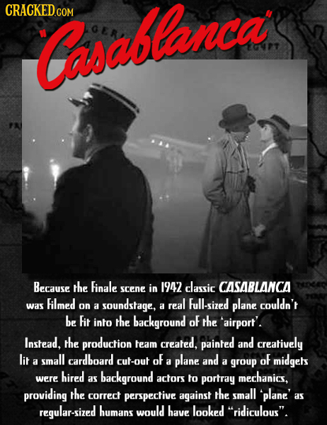 Caoabtanca 4PT Because the Finale in 1942 classic CASABLANCA scene Filmed Full-sized was on soundstage, real plane couldn't a a be Fit into the backgr