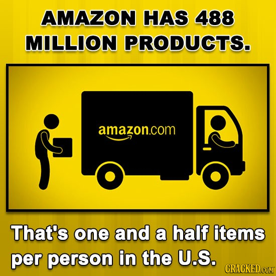 AMAZON HAS 488 MILLION PRODUCTS. amazon.com That's one and a half items per person in the U.S. CRACKED COMT