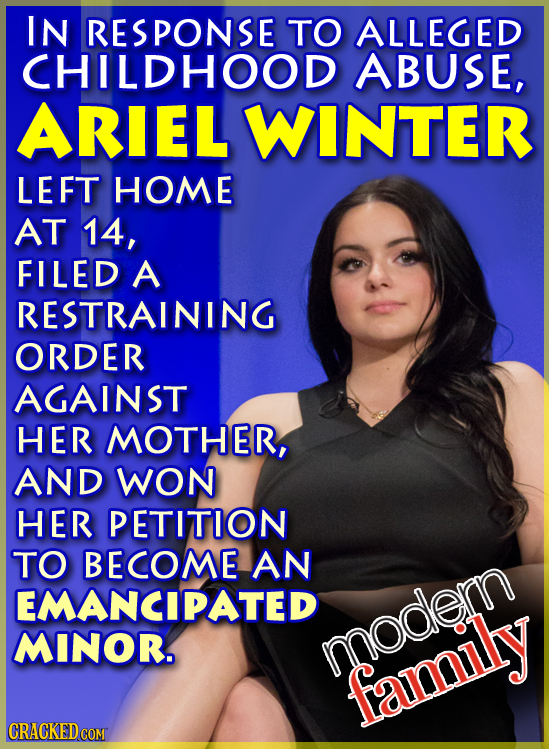 IN RESPONSE TO ALLEGED CHILDHOOD ABUSE, ARIEL WINTER LEFT HOME AT 14, FILED A RESTRAINING ORDER AGAINST HER MOTHER, AND WON HER PETITION TO BECOME AN