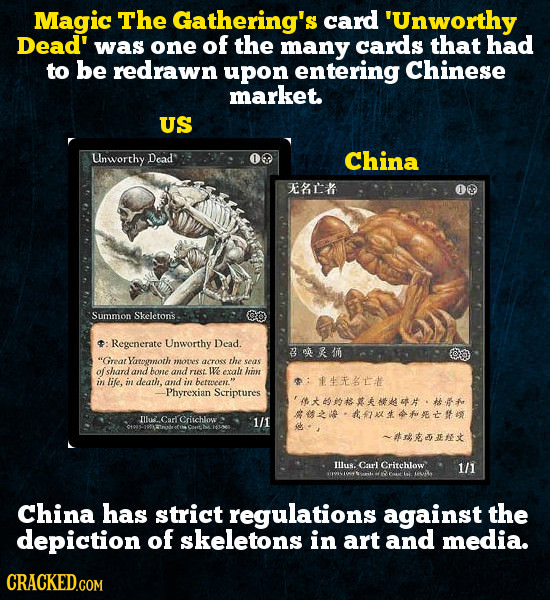 Magic The Gathering's card 'Unworthy Dead' was one of the many cards that had to be redrawn upon entering Chinese market. US Unworthy Dead China LK Su