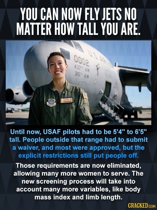YOU CAN NOW FLY JETS NO MATTER HOW TALL YOU ARE. 0002 437 AN 3IS Until now, USAF pilots had to be 5'4 to 6'5 tall. People outside that range had to