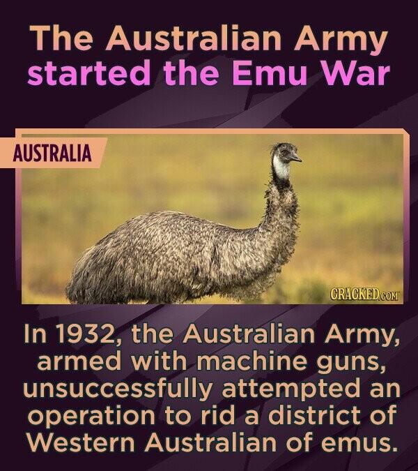 The Australian Army started the Emu War AUSTRALIA CRACKEDCOMT In 1932, the Australian Army, armed with machine guns, unsuccessfully attempted an opera