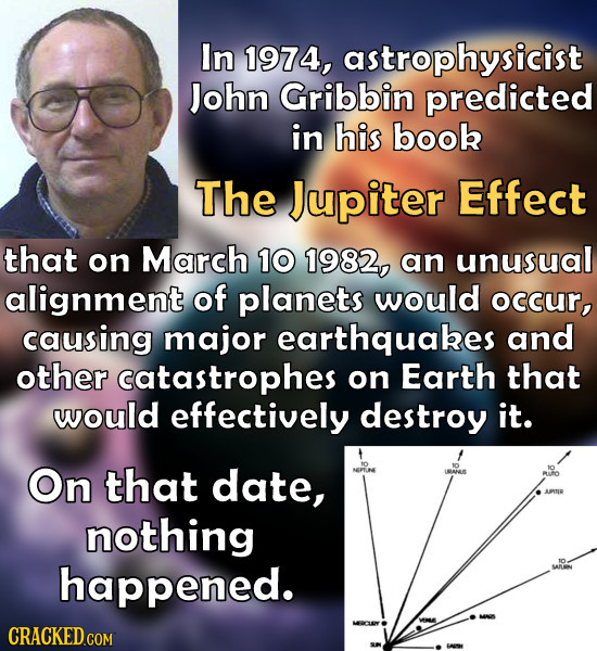 In 1974, astrophysicist John Gribbin predicted in his book The Jupiter Effect that on March 10 1982, an unusual alignment of planets would occur, caus