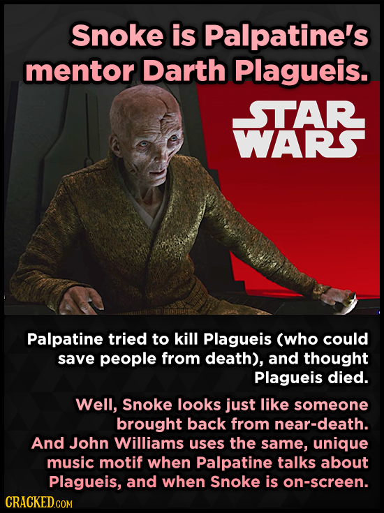 Snoke is Palpatine's mentor Darth Plagueis. STAR WARS Palpatine tried to kill Plagueis (who could save people from death), and thought Plagueis died.