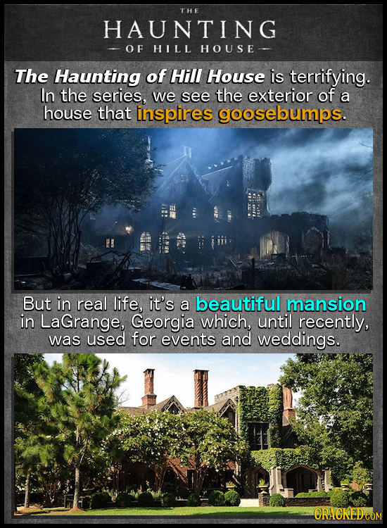THE HAUNTING OF HILL HOUSE- The Haunting of Hill House is terrifying. In the series, we see the exterior of a house that inspires goosebumps. But in r