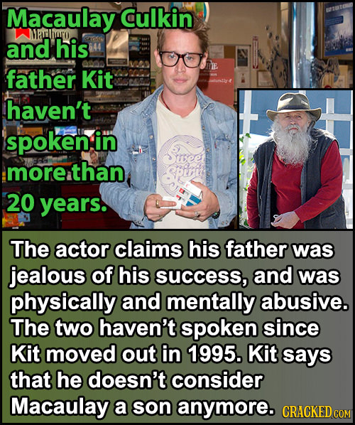 Macaulay Culkin Masthwo and his father Kit haven't spoken in more than 20 years. The actor claims his father was jealous of his SUccess, and was physi