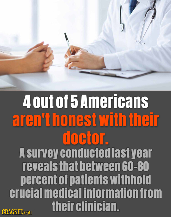 4 out of 5 Americans aren't honest with their doctor. A survey conducted last year reveals that between 60-80 percent of patients withhold crucial med