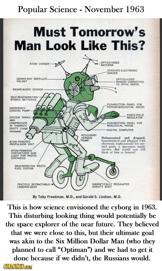 Popular Science -November 1963 Must Tomorrow's Man Look Like This? CHASER- OPTICO-VIDEO ATOM ANTENNA SYNCHRO -ELECTRONIC SHAVER GAMMA- RAY REPELLER. O