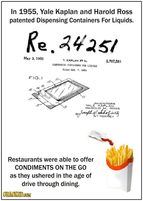 In 1955, Yale Kaplan and Harold Ross patented Dispensing Containers For Liquids. Re. .3425/ May 3, 1955 Y. KCAPLAN ET AL 2,707.581 DISTESING CCOrTATRI